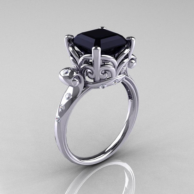 Modern Antique 10k White Gold 2 6 Carat Emerald Cut Black Diamond Solitaire Ring R166 10wgdbd