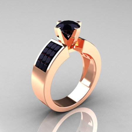 Modern Bridal 14K Rose Gold Princess Invisible 1.0 CT Round Black Diamond Wedding Ring R168-14KRGBDD-1