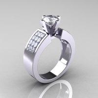 Modern Bridal 10K White Gold Princess Invisible 1.0 CT Round CZ Wedding Ring R168-10KWGCZ-1