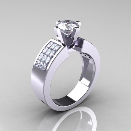 Modern Bridal 10K White Gold Princess Invisible 1.0 CT Round CZ Wedding Ring R168-10KWGCZ-1