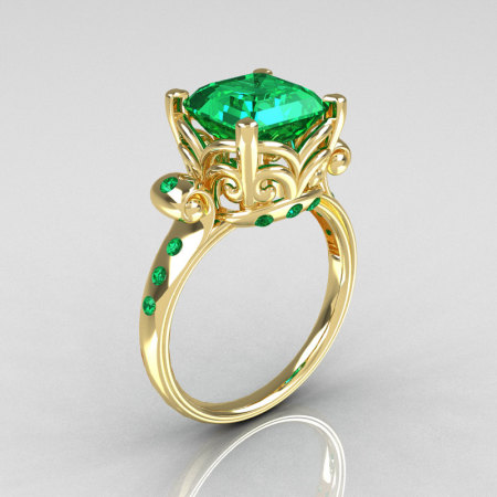 Modern Antique 10K Yellow Gold 2.6 Carat Emerald Solitaire Ring R166-10YGEM-1