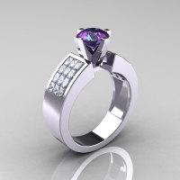 Modern Bridal 14K White Gold Princess Invisible White Sapphire 1.0 CT Round Alexandrite Wedding Ring R168-14KWGWSAL-1
