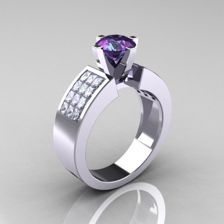Modern Bridal 14K White Gold Princess Invisible White Sapphire 1.0 CT Round Alexandrite Wedding Ring R168-14KWGWSAL-1