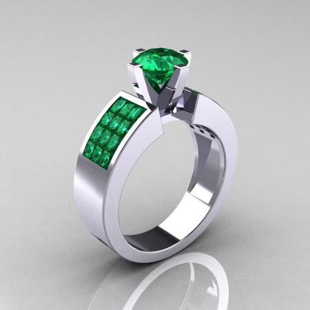 Modern Bridal 10K White Gold Princess Invisible 1.0 CT Round Emerald Wedding Ring R168-10KWGEM-1