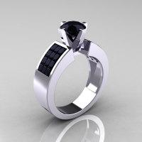 Modern Bridal 10K White Gold Princess Invisible 1.0 CT Round Black Diamond Wedding Ring R168-10KWGBDD-1