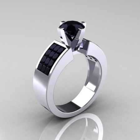 Modern Bridal 10K White Gold Princess Invisible 1.0 CT Round Black Diamond Wedding Ring R168-10KWGBDD-1