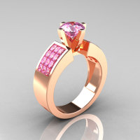 Modern Bridal 18K Rose Gold Princess Invisible 1.0 CT Round Pink Topaz Wedding Ring R168-18KRGPT-1