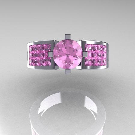 Modern Bridal 14K White Gold Princess Invisible 1.0 CT Round Pink Topaz Wedding Ring R168-14KWGPT-1