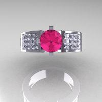 Modern Bridal 950 Platinum Princess Invisible White Sapphire 1.0 CT Round Pink Sapphire Wedding Ring R168-PLATWSPS-1