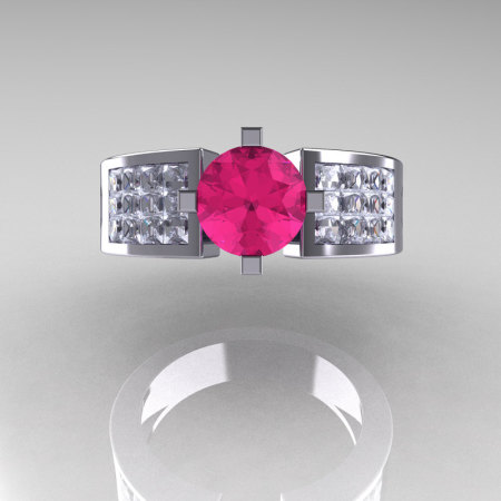 Modern Bridal 950 Platinum Princess Invisible White Sapphire 1.0 CT Round Pink Sapphire Wedding Ring R168-PLATWSPS-1