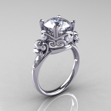 Modern Vintage 14K White Gold 2.5 Carat White Sapphire Diamond Wedding Engagement Ring R167-14KWGDWS-1