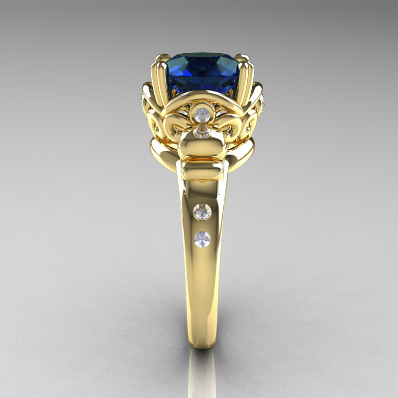 Modern Vintage 18k Yellow Gold 2 5 Carat London Blue Sapphire Diamond Wedding