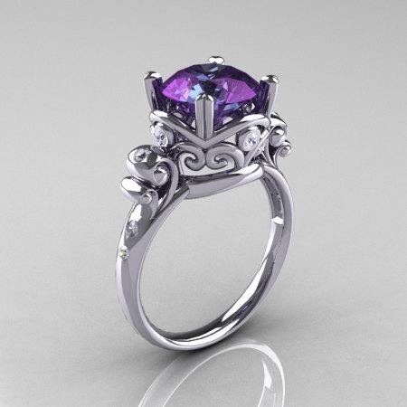 Modern Vintage 14K White Gold 3.0 Carat Russian Alexandrite Diamond Wedding Engagement Ring R167-14KWGDAL-1
