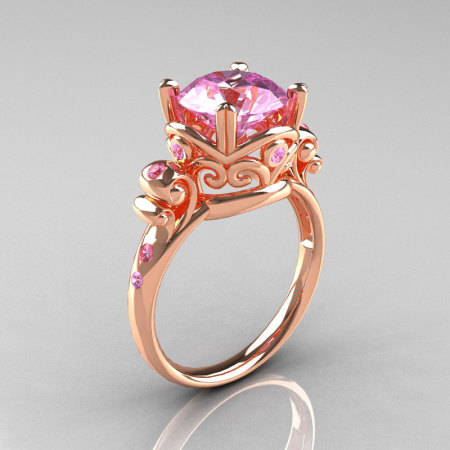 Modern Vintage 10K Rose Gold 2.5 Ct Light Pink Sapphire Wedding Ring Engagement Ring R167-10KRGLPS-1