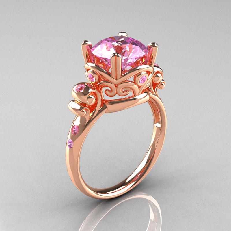 f4004ab59b9d05 Modern Vintage 10K Rose Gold 2.5 Ct Light Pink Sapphire Wedding Ring  Engagement Ring R167-