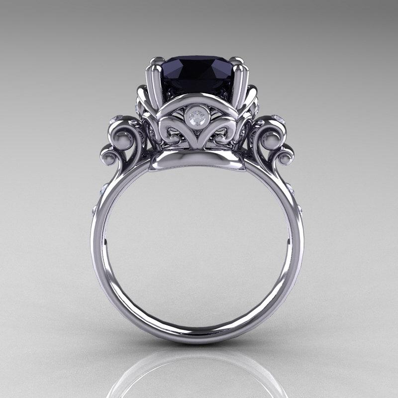 Modern Vintage 14k White Gold 2 5 Carat Black Onyx Wedding Engagement Ring R167