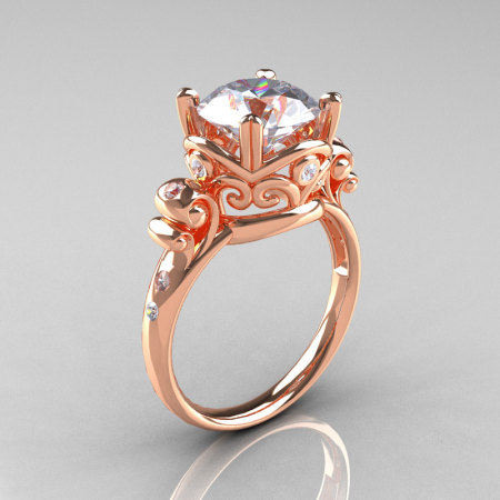 Modern Vintage 14K Rose Gold 2.5 Carat White Sapphire Diamond Wedding Engagement Ring R167-14KRGDWS-1
