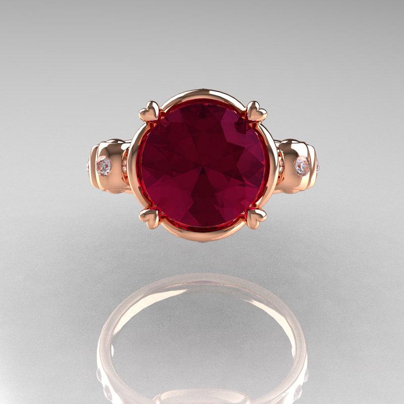Modern Vintage 18k Rose Gold 2 5 Carat Burgundy Garnet