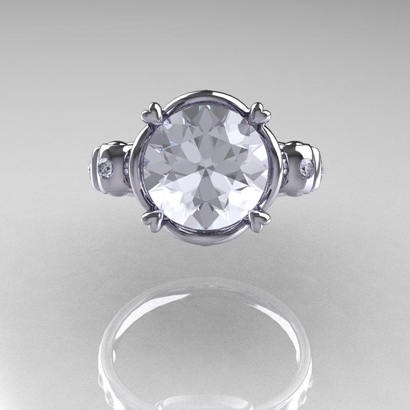 Modern Vintage 14k White Gold 2 5 Carat White Sapphire Diamond Wedding Engagement Ring R167