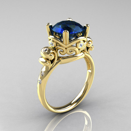 Modern Vintage 18K Yellow Gold 2.5 Carat London Blue Sapphire Diamond Wedding Engagement Ring R167-18KYGDLBS-1
