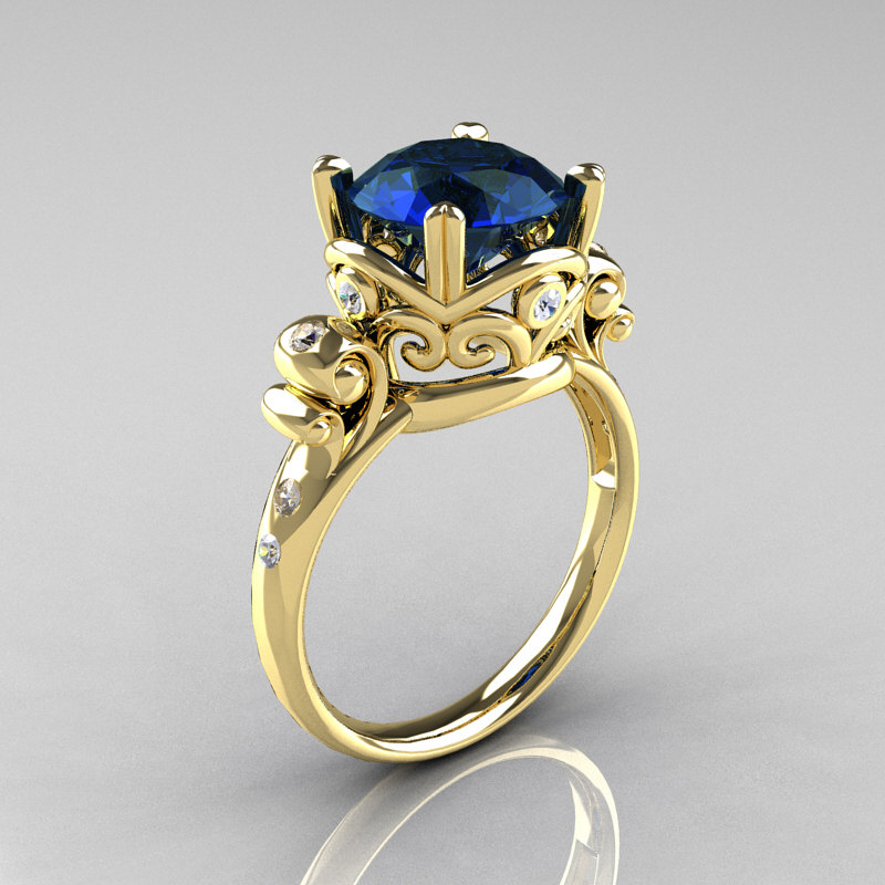 Modern Vintage 18K Yellow Gold 25 Carat London Blue Sapphire