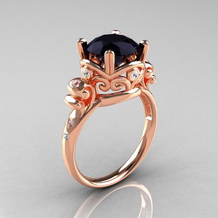 Modern Vintage 14K Rose Gold 2.5 Carat Black Diamond Wedding Engagement Ring R167-14KRGDBD-1