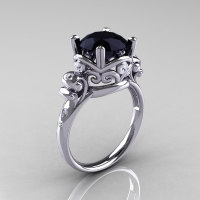 Modern Vintage 14K White Gold 2.5 Ct Black and White Diamond Wedding Engagement Ring R167-14KWGDBD-1