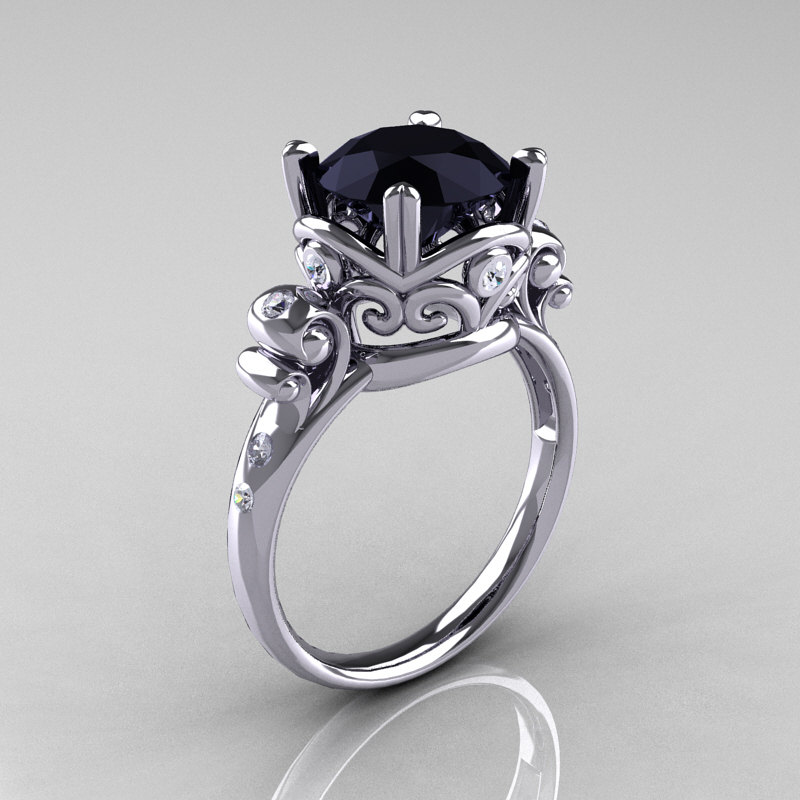 Modern Vintage 14K White Gold 2 5 Carat Black yx Wedding Engagement Ring R1