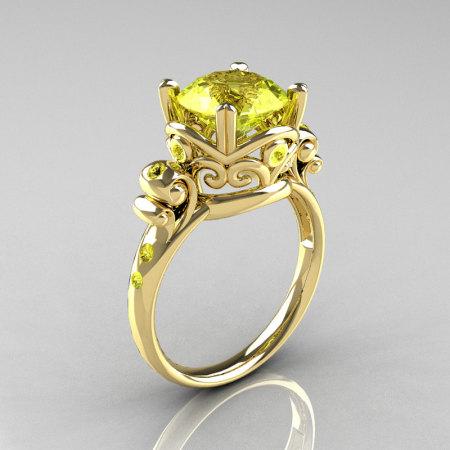 Modern Vintage 10K Yellow Gold 2.5 Carat Yellow Topaz Wedding Engagement Ring R167-10KYGYTT-1