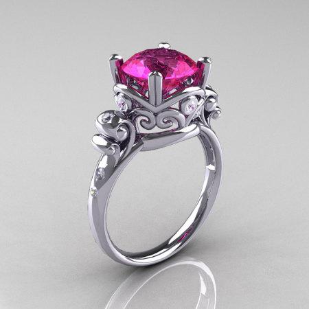 Modern Vintage 14K White Gold 2.5 Carat Pink Sapphire Diamond Wedding Engagement Ring R167-14KWGDPS-1