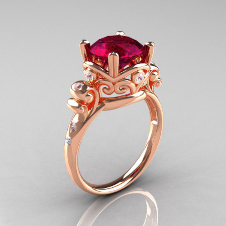 Modern Vintage 18K Rose Gold 2.5 Carat Burgundy Garnet Diamond Wedding Engagement Ring R167-18KRGDBG-1