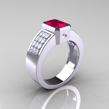 Ultra Modern 10K White Gold Princess Invisible CZ 1.0 CT Emerald Rubies Engagement Ring R169-10KWGCZR-1