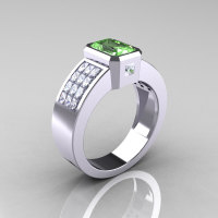 Ultra Modern 10K White Gold Princess Invisible White Sapphire 1.0 CT Emerald Green Topaz Engagement Ring R169-10KWGWSGT-1