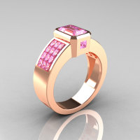 Ultra Modern 10K Rose Gold Princess Invisible and 1.0 CT Emerald Light Pink Sapphire Engagement Ring R169-10KRGLPS-2