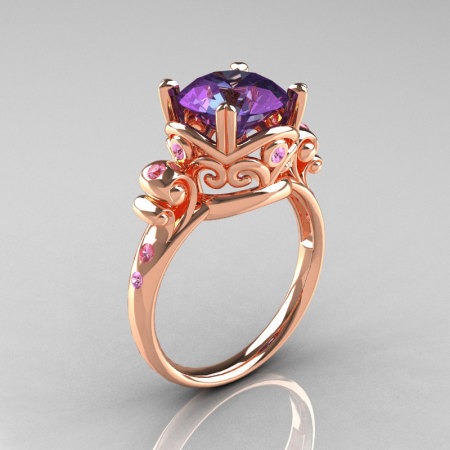 Modern Vintage 14K Rose Gold 2.5 Carat Alexandrite and Light Pink Sapphire Wedding Engagement Ring R167-14KRGLPSAL-1