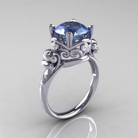 Modern Vintage 10K White Gold 2.5 Carat Blue Topaz Diamond Wedding Engagement Ring R167-10KWGDBT-1
