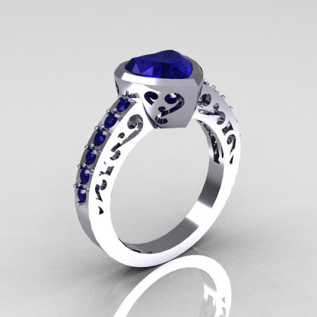 Classic Bridal 14K White Gold 2.0 Carat Heart Blue Sapphire Ring R314-14WGBS-1