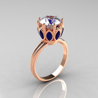 Modern Antique 14K Rose Gold Marquise Blue Sapphire and 2.0 CT Round Zirconia Solitaire Ring R90-2-14KRGBSCZ-1