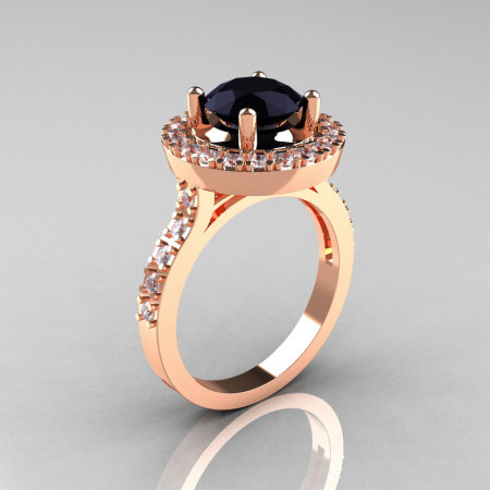 Classic 18K Rose Gold 1.5 Carat Black Diamond Solitaire Wedding Ring R115-18KRGDBD-1