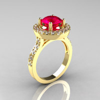 Classic 14K Yellow Gold 1.5 Carat Rubie Diamond Solitaire Wedding Ring R115-14KYGDR-1