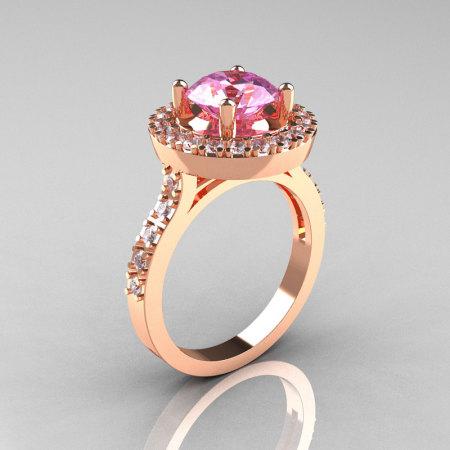 Classic 14K Rose Gold 1.5 Carat Light Pink Sapphire Diamond Solitaire Wedding Ring R115-14KRGDLPS-1
