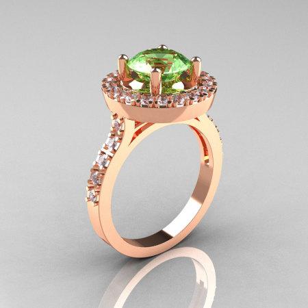 Classic 18K Rose Gold 1.5 Carat Green Topaz Diamond Solitaire Wedding Ring R115-18KRGDGT-1