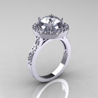 Classic 18K White Gold 1.5 Carat Cubic Zirconia Diamond Solitaire Wedding Ring R115-18KWGDCZ-1