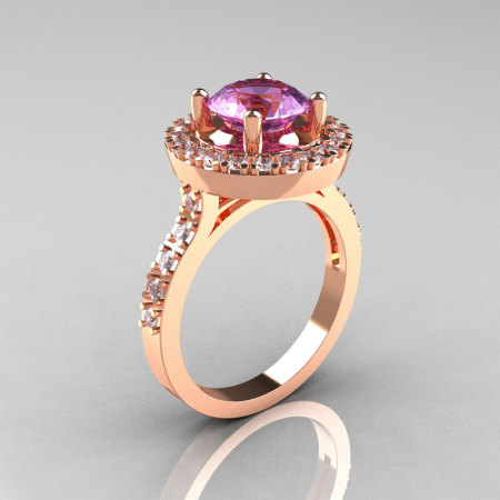 Classic 14K Rose Gold 1.5 Carat Lilac Amethyst Diamond Solitaire Wedding Ring R115-14KRGDLA-1
