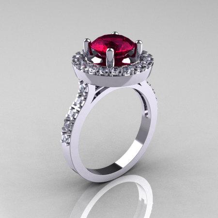 Classic 14K White Gold 1.5 Carat Burgundy Garnet Diamond Solitaire Wedding Ring R115-14KWGDBG-1