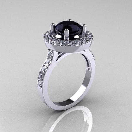 Classic 10K White Gold 1.5 Carat Black Diamond Solitaire Wedding Ring R115-10KWGDBD-1