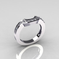 Classic 14K White Gold Diamond Flush Matching Wedding Band for Solitaire Wedding Ring R301-M-14WGD-1