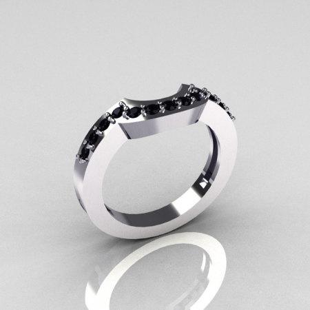 Reserved for Kurt – Classic 14K White Gold Black Diamond Magic Band Matching Solitaire Wedding Ring R301-M-14WGDBL-1