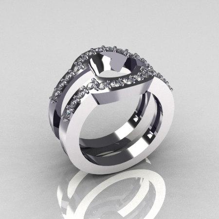 Classic 14K White Gold Diamond Flush Band Pair Matching Solitaire Wedding Ring R301-M2-14WGD-1