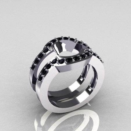 Classic 14K White Gold Black Diamond Wedding Band Pair Matching Solitaire Wedding Ring R301-M2-14WGDBL-1